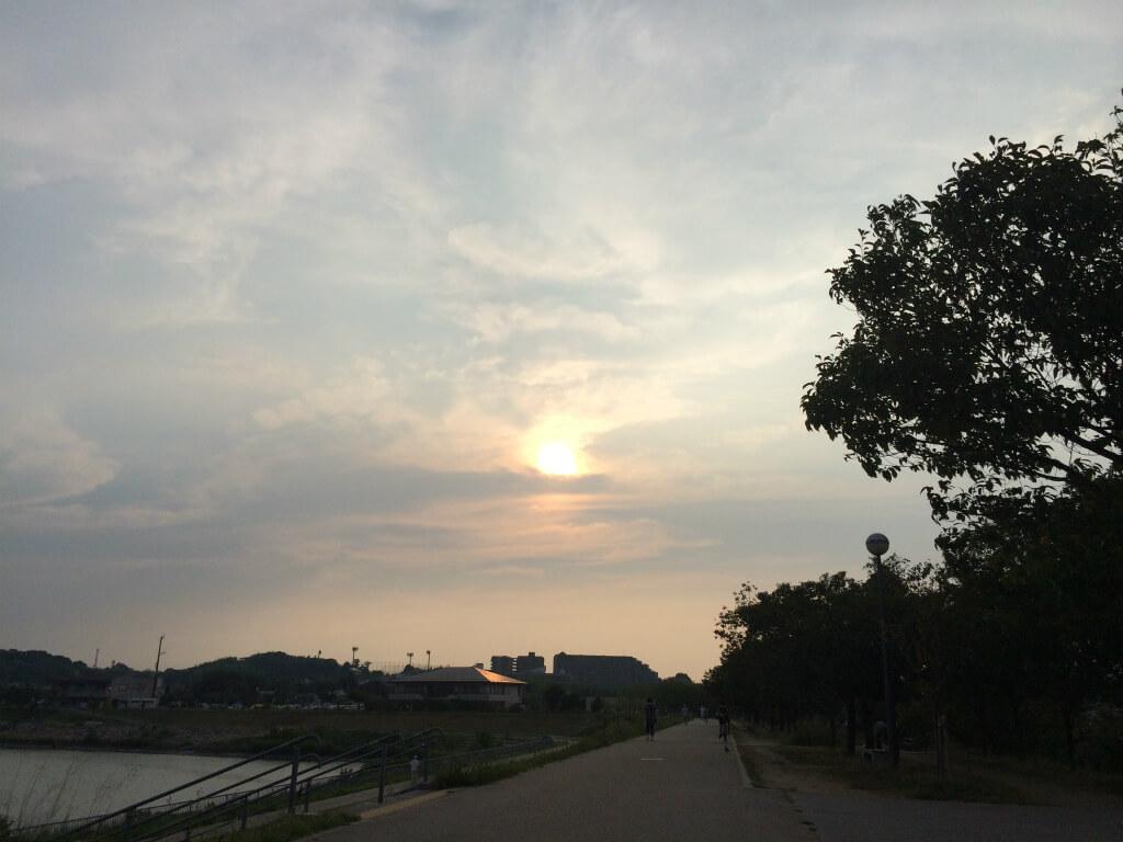 狭山池の夕焼け