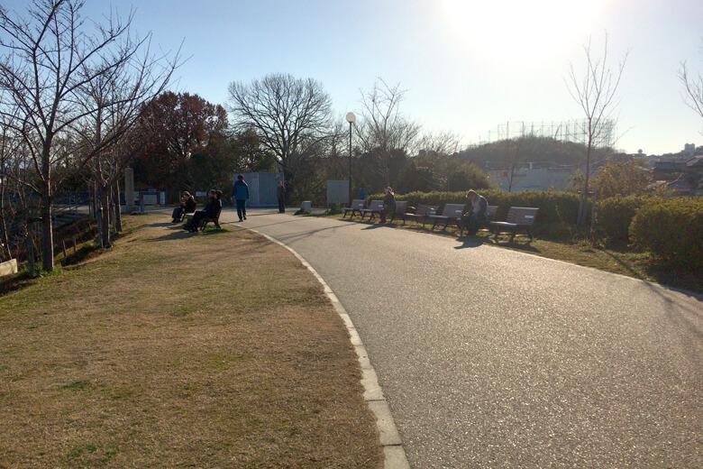 狭山池ベンチで日向ぼっこ