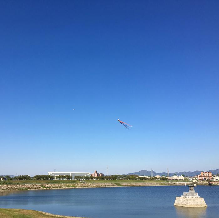 狭山池の青空と連凧と龍神社