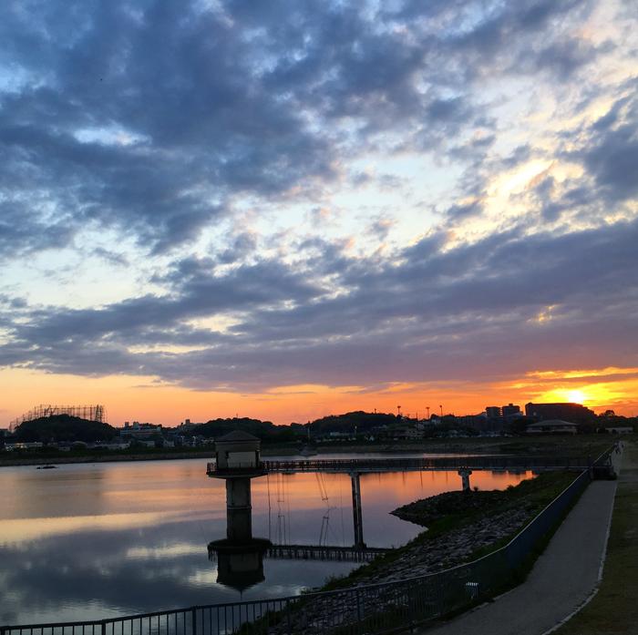 狭山池に映る夕日