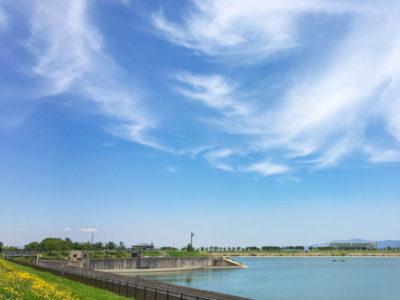 狭山池とフワフワ雲