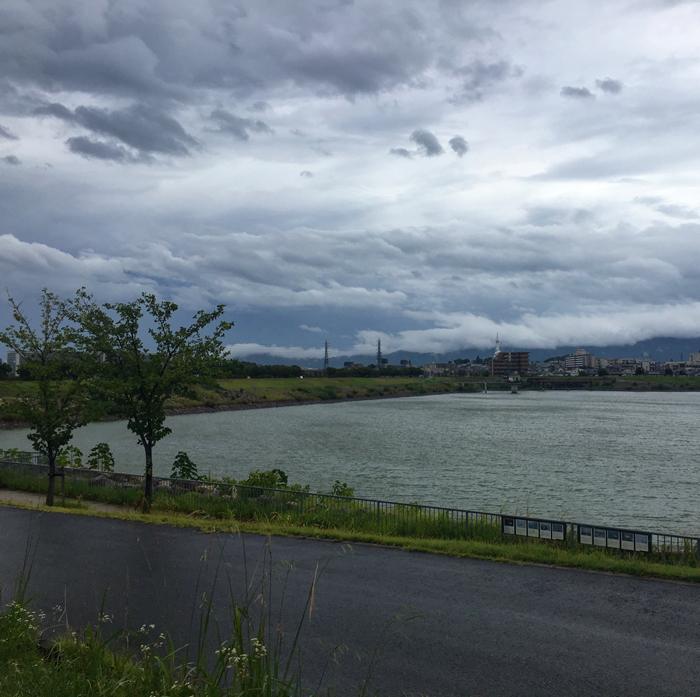狭山池に台風5号