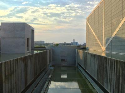 狭山池博物館と夕日