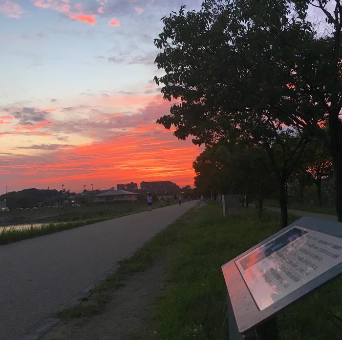 狭山池の夕焼け空