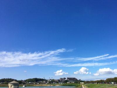 狭山池と青い空
