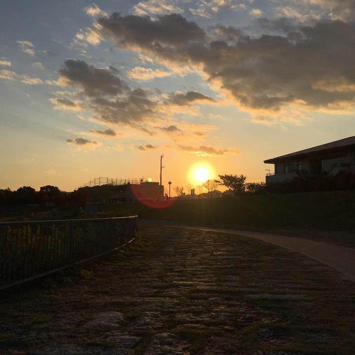 狭山池の夕日