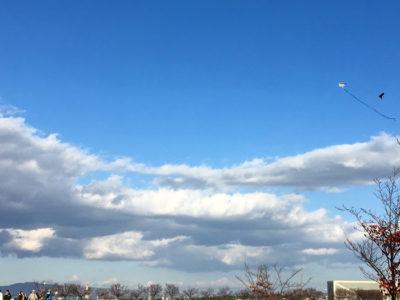 狭山池の秋空に凧