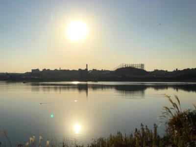 狭山池秋の夕日