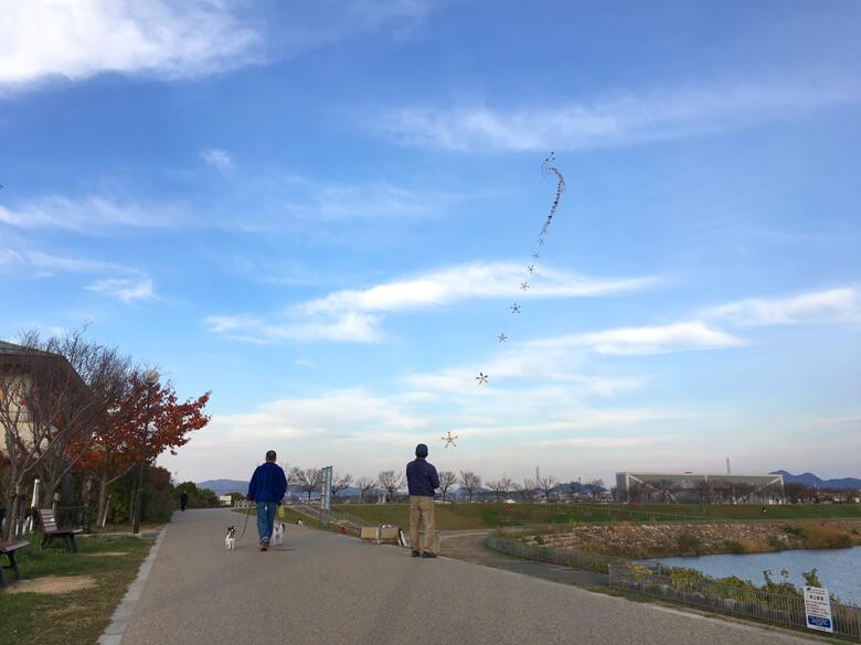狭山池の空に凧がいっぱいポン☆
