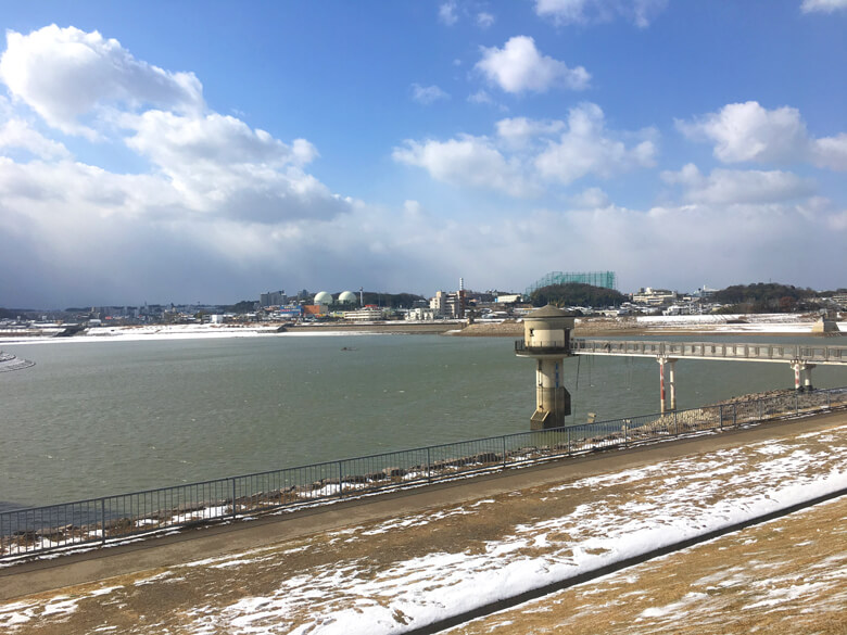 狭山池、雪つもってるポ~ン☆