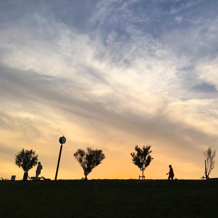 夕日の狭山池