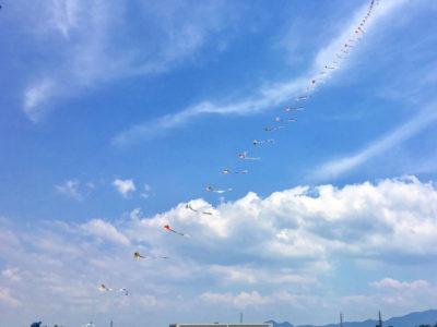 狭山池の青い空に凧