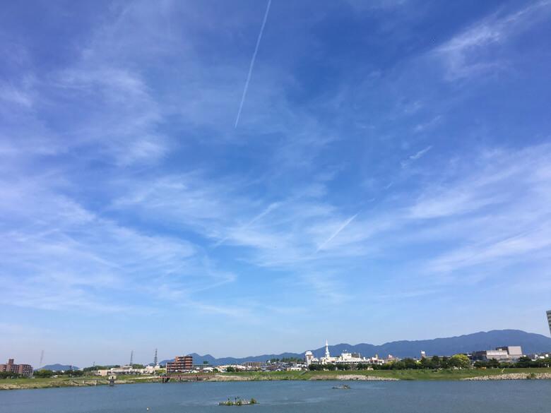 飛行機雲、みっけだポンよ☆