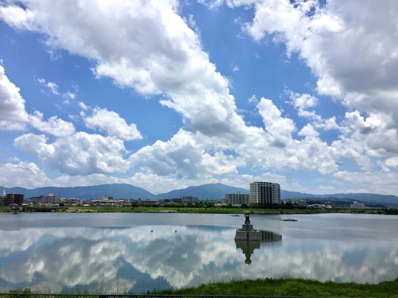 狭山池に雲☆映ってるポンよ~☆