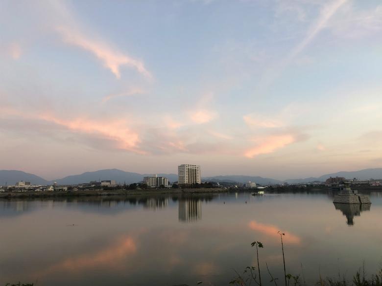 狭山池に雲がポン☆